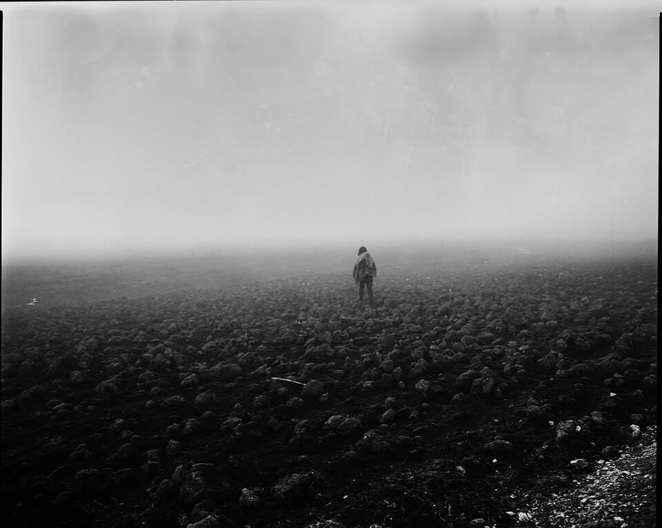 Eine einsame Person auf einem nebeligen Acker.