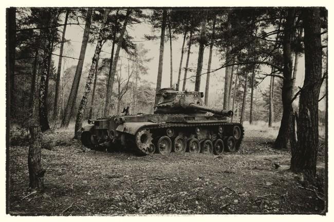 Ein Panzer im Wald.