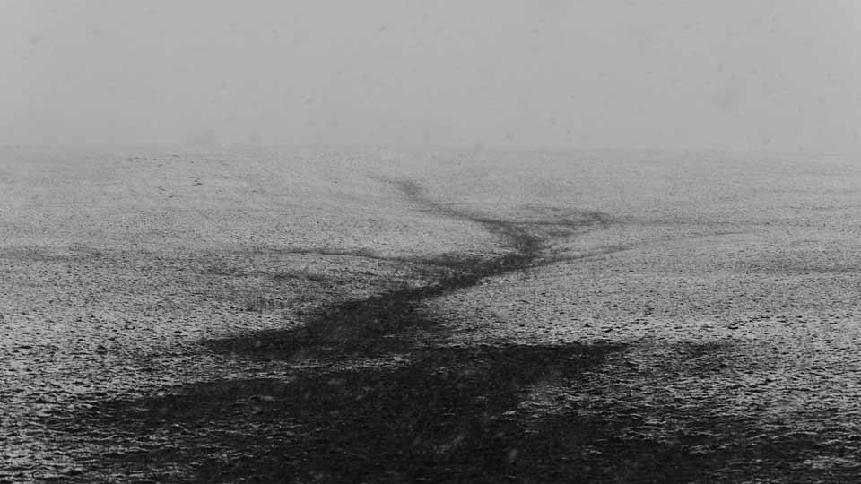 Ein karger Feldweg im Schnee