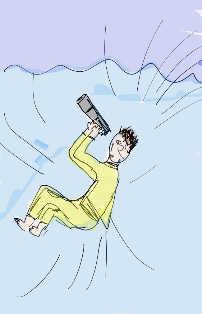 Skizze eines Menschen mit Fernglas im Wasser tauchend