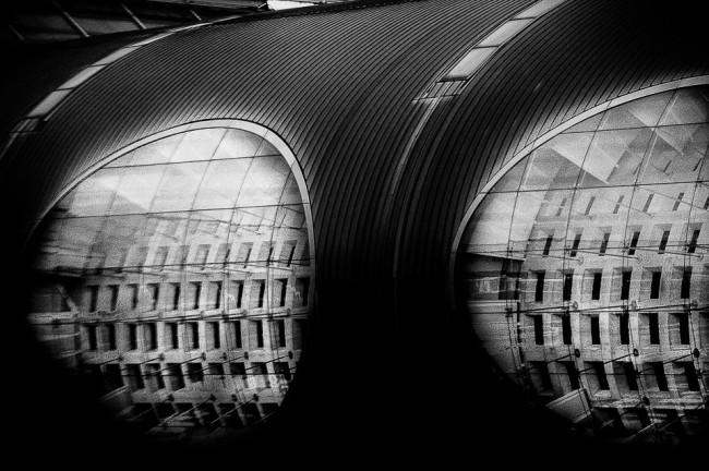 Fassadenausschnitt eines Flughafenterminals
