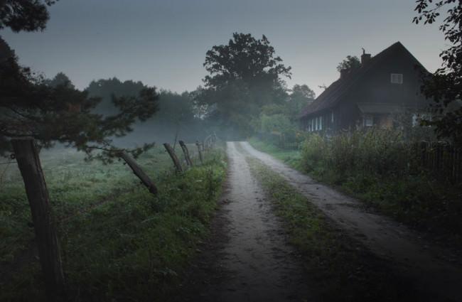 Ein Weg führt vom Haus in den Wald.