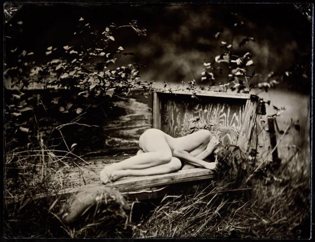 Eine nackte Frau in einem Bett, mitten in der Natur.