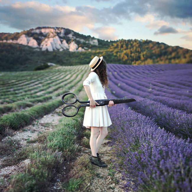Eine Frau mit großer Schere zwischen den Lavendelfeldern.