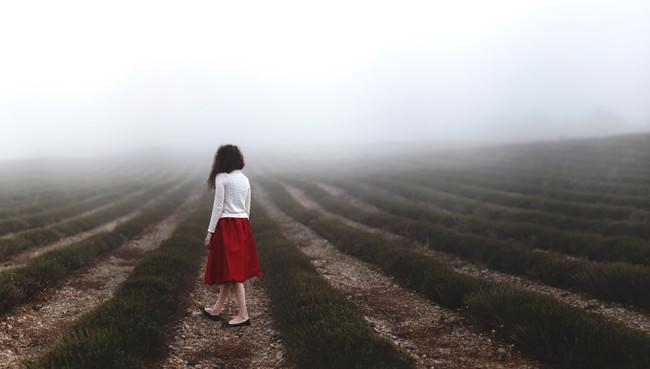 Eine Frau im nebligen Lavendelfeld