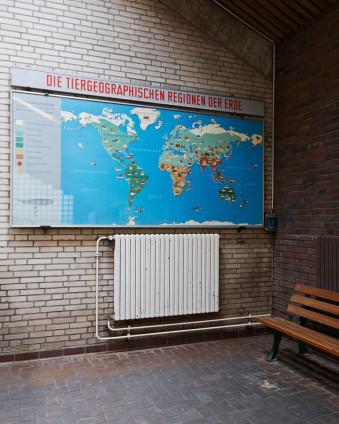 Weltkarte an einer gemauerten Wand