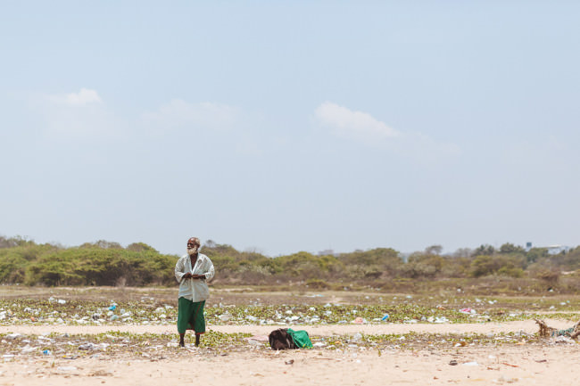 Obdachloser am Strand