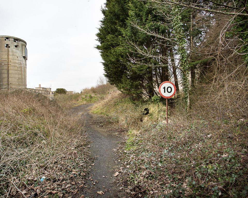 Ein Straßenschild an einem ungepflasterten Waldweg.
