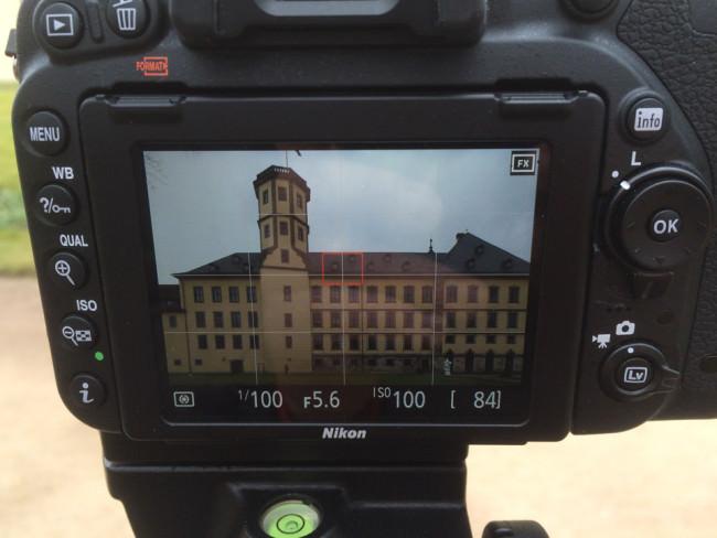 Kameradisplay mit LiveView von geshiftetem Bildausschnitt