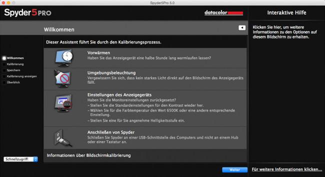 Screenshot der Spyder 5 Pro Software