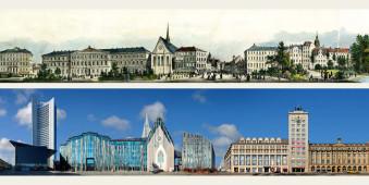 Der Augustusplatz am Leipziger Ring, früher und heute