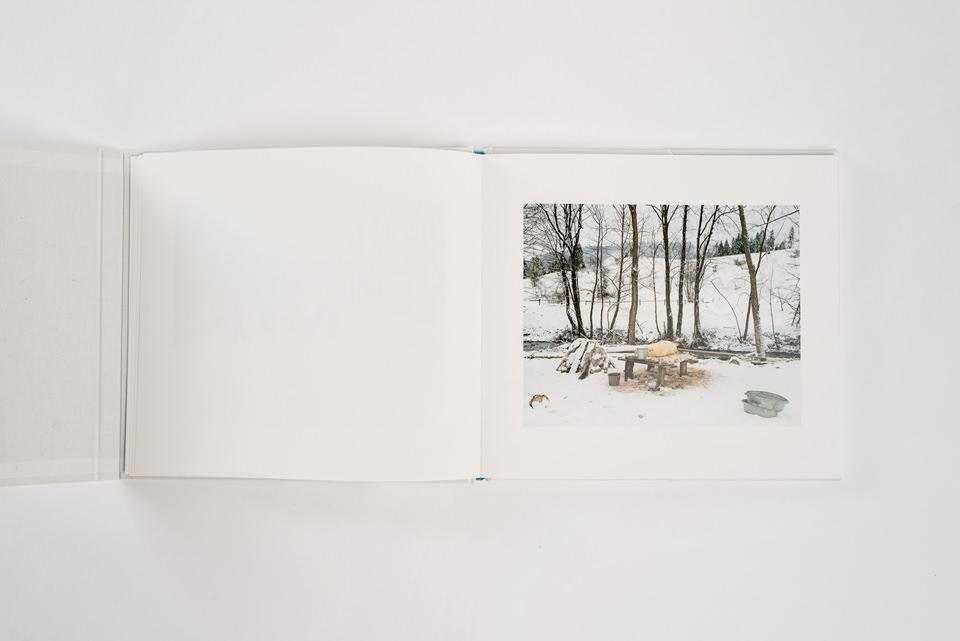 Ein geöffnetes Buch und ein Bild.