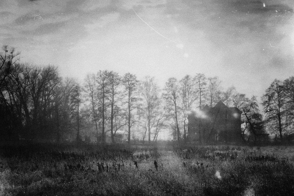 Schwarzweißbild mit Fusseln und Kratzern eines Hauses, das hinter einem Feld von Bäumen umstanden steht.