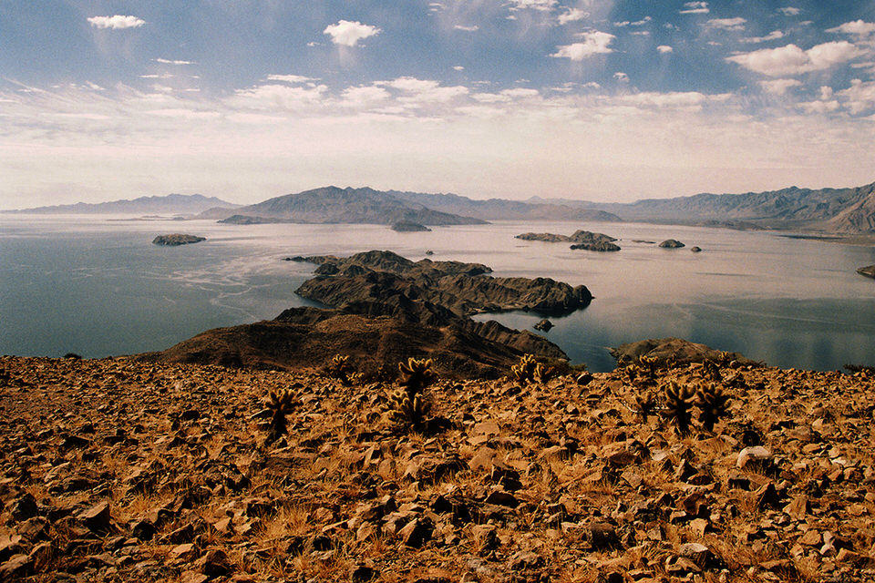Eine Lanschaftsaufnahme mit Meer und Wüste.