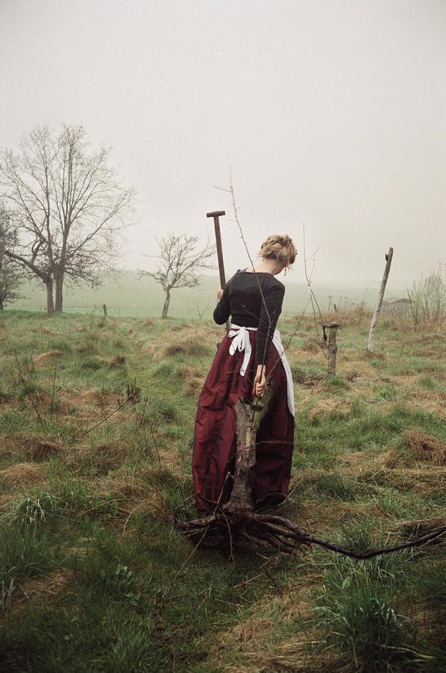 Eine Frau zieht eine Baumwurzel ins Feld.