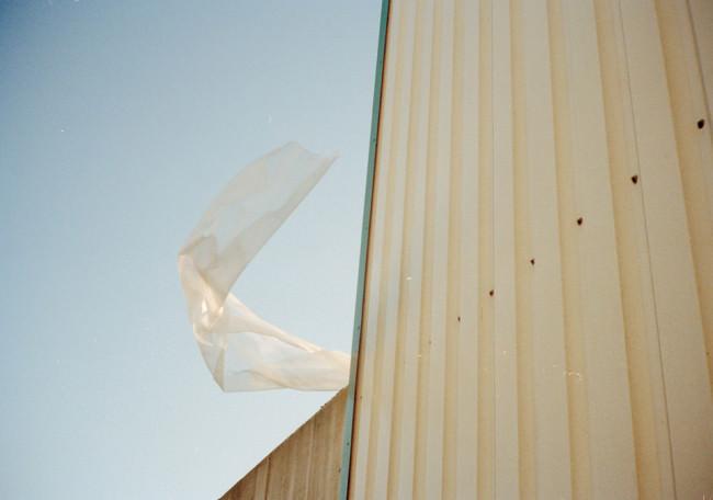 Plastikfolie im Wind.