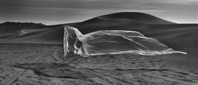 Plastik an einem Stab vor einer Sanddüne.