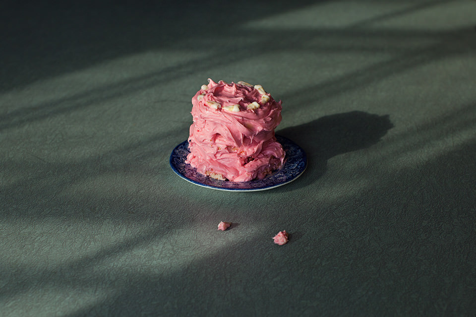 Ein rosaner Cremekuchen.