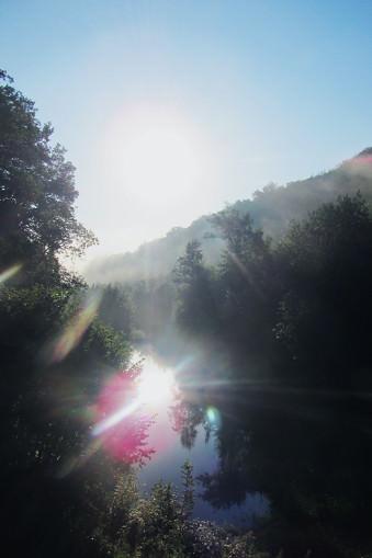 Kleiner Teich im Wald im Gegenlicht.