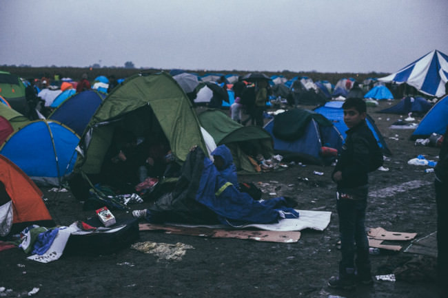 Zelte im Lager Röszke