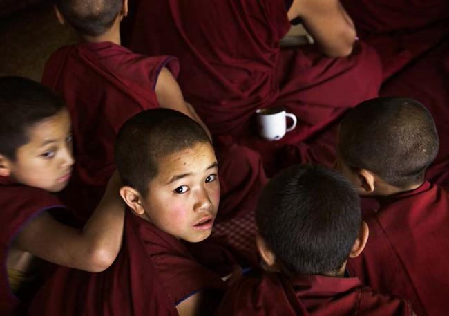 Junge Mönche in roten Roben.