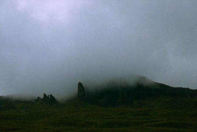 Nebel, Schottland und Felsen