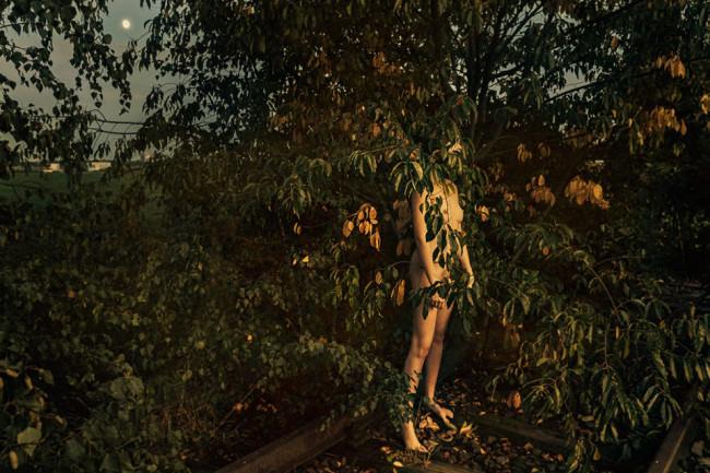 Eine Person versteckt sich hinter einem Busch.