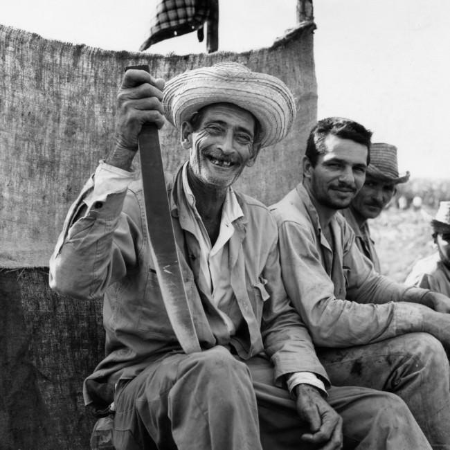 Drei Arbeiter sitzen auf einer Pritsche und schauen in die Kamera