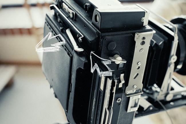 die Kassette an der Großbildkamera