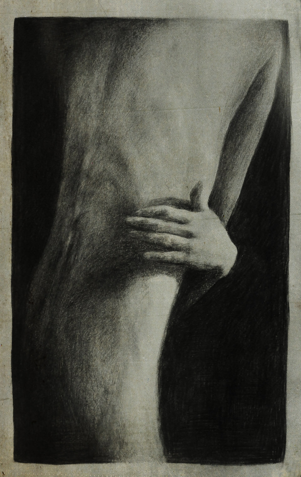 Bleistift-Zeichnung einer langgezogenen Rückenansicht.