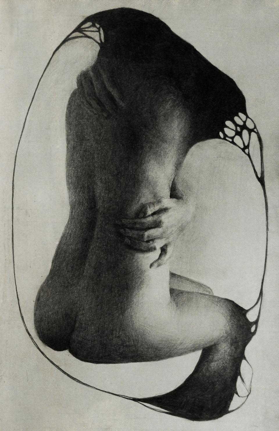 Zeichnung einer nackten Rückenansicht.