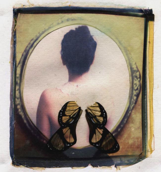 Schmetterlingsflügel liegen auf dem Bild einer Person