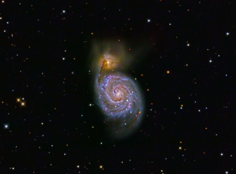 Aufnahme einer Doppel-Spiralgalaxie.