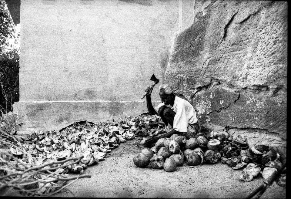 Ein Mann sitzt auf dem Boden und öffnet mit einer Axt Früchte.