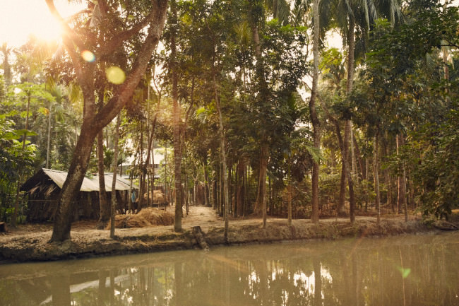 Eine Holzhütte am Fluss