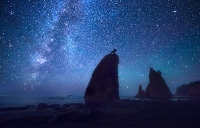 Nachthimmel mit Milchstraße hinter Felsen am Ufer eines Gewässers.