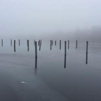 Diesiger Blick über einen See, aus dem Pfähle ragen.