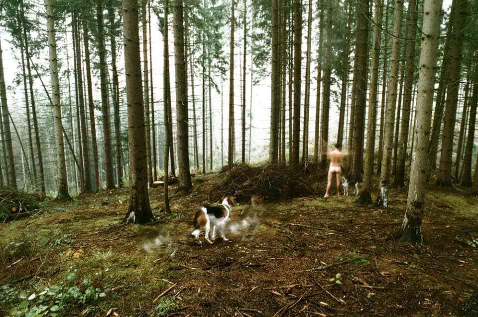 nackter Mann und Hund im Wald