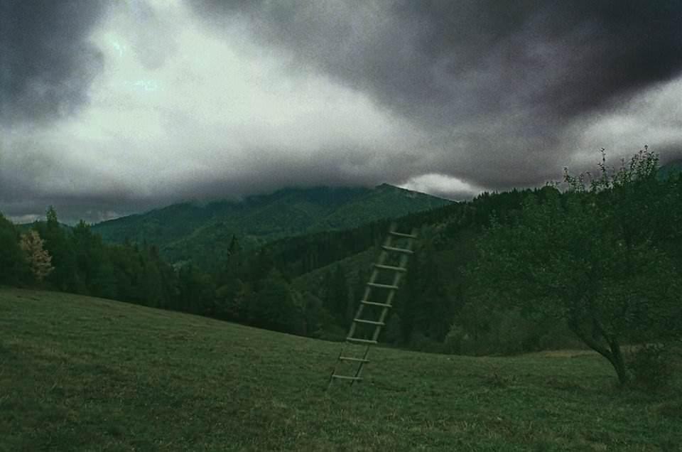 Eine Leiter hoch in die Wolken