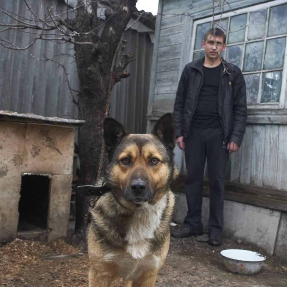 Ein Hund an der Kette vor seiner Hütte, mit seinem Besitzer.