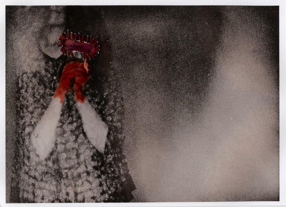 Foto einer Frau mit eingearbeiteten roten Fäden.