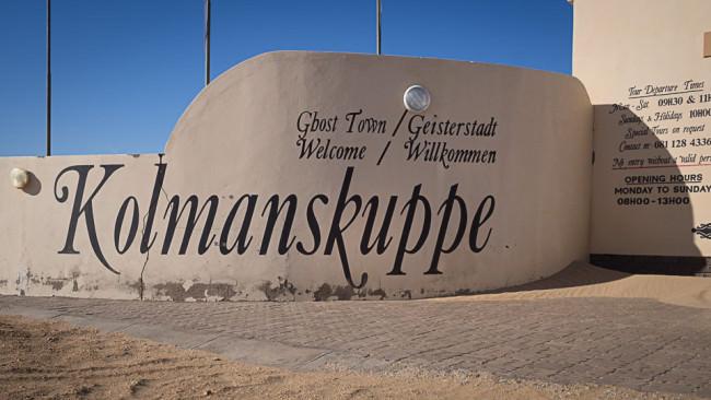 Schriftzug Kolmanskuppe auf einer Wand.