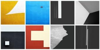 Collage aus acht Fotos abstrakter Architektur.