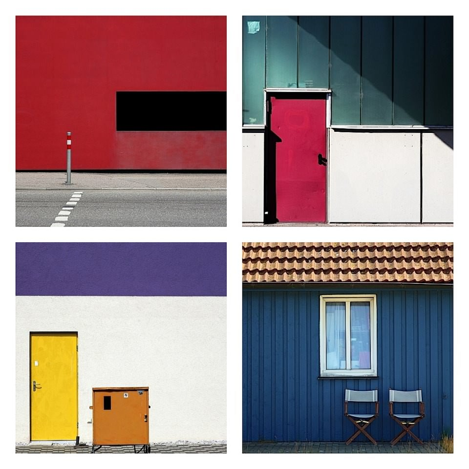 Collage aus vier Fotos abstrakter Architektur.
