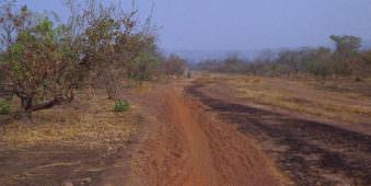 Eine trockene Sandstraße oder Piste mit Motorradfahrer.
