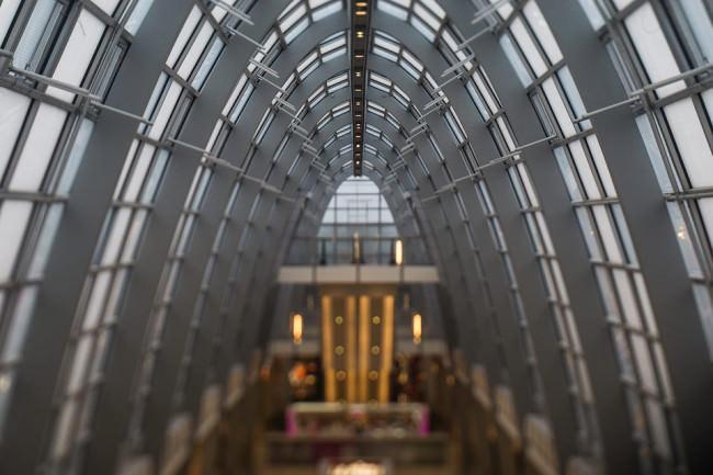 Einkaufszentrum mit Tilteffekt