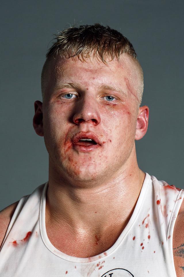 Portrait eines blutverschmierten Boxers