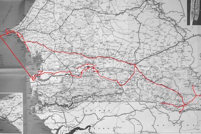 Karte mit eingetragener Reiseroute.