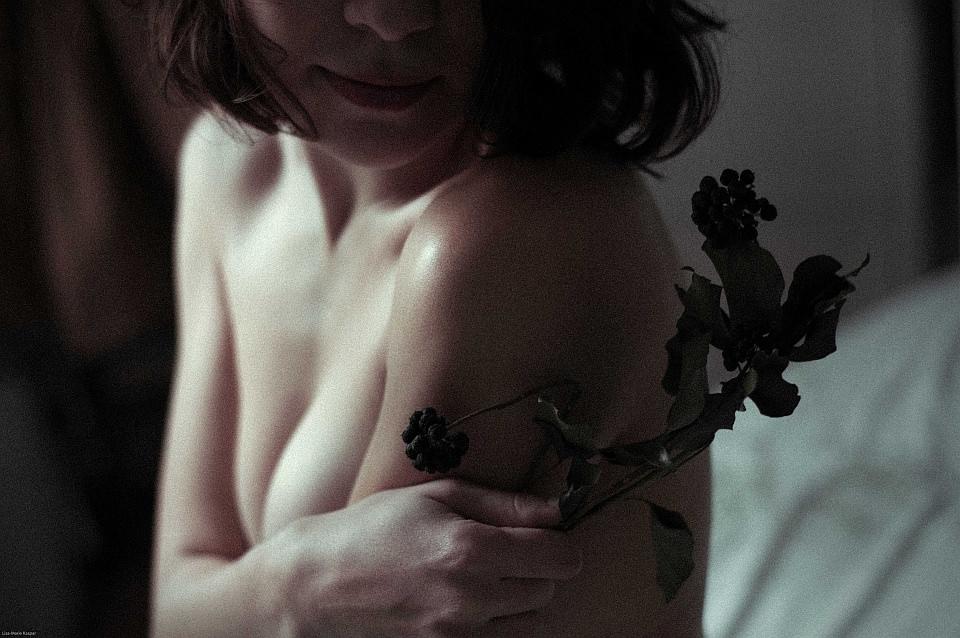 Weiblicher Akt mit Gesicht im Dunkeln und einer getrockneten Pflanze.