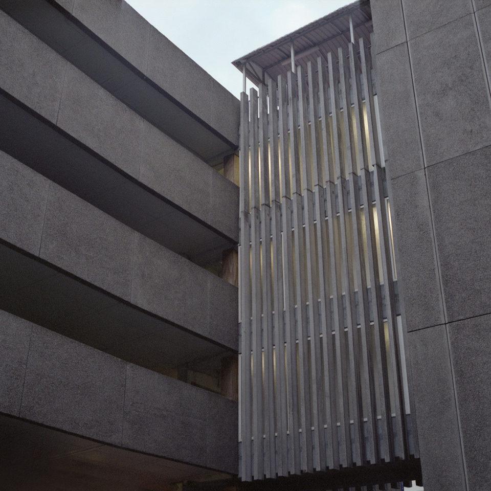 Fassade eines Wohn-Betonblocks.